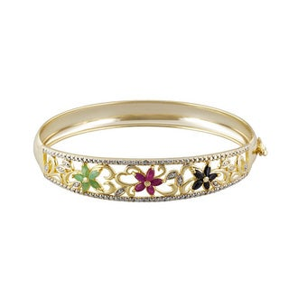 Glitzy Rocks Rhodium-plated Multi-gemstone and Diamond Bangle Bracelet (I-J, I2-I3)