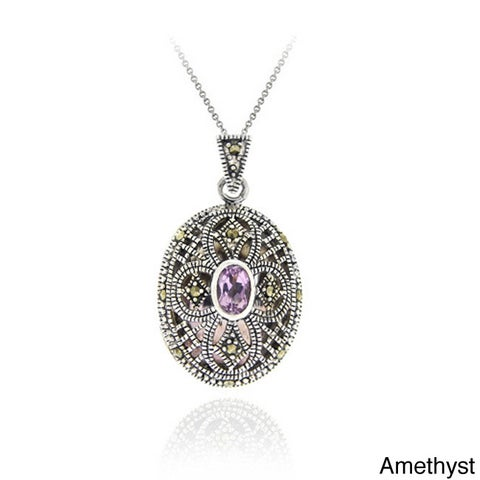 Glitzy Rocks Rhodium-plated Multi-gemstone and Marcasite Oval Locket Necklace