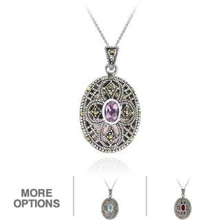 Glitzy Rocks Rhodium-plated Multi-gemstone and Marcasite Oval Locket Necklace