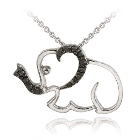 DB Designs Rhodium-plated Black Diamond-accented Elephant Necklace