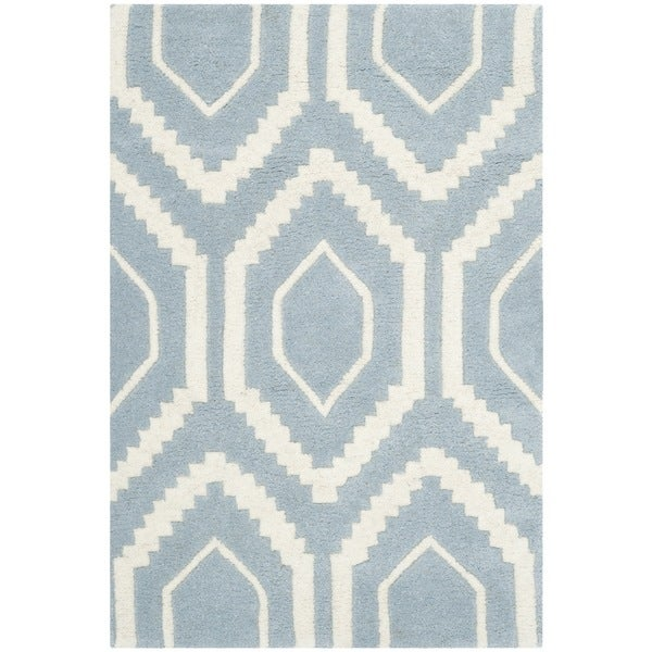 Safavieh Handmade Moroccan Chatham Blue/ Ivory Canvas-backed Wool Rug (2'3 x 5')