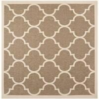 Safavieh Courtyard Moroccan Pattern Brown/ Bone Indoor/ Outdoor Rug - 5'3 Square