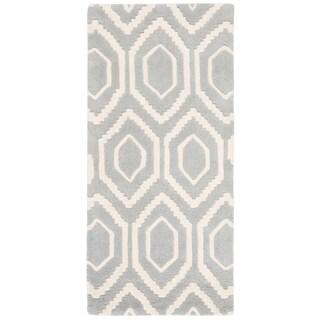 Safavieh Handmade Moroccan Chatham Soft Gray/ Ivory Wool Rug (2'3 x 5')