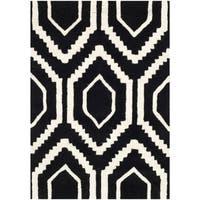 Safavieh Handmade Moroccan Chatham Black/ Ivory Wool Accent Rug - 2'3' x 5'