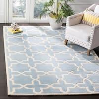 Safavieh Handmade Moroccan Chatham Geometric-pattern Blue/ Ivory Wool Rug - 10' x 14'