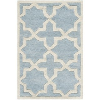 Safavieh Handmade Moroccan Chatham Blue/ Ivory Wool Rug with .5-inch Pile (2'3 x 5')