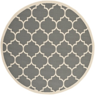 Safavieh Indoor/ Outdoor Courtyard Anthracite/ Beige Polypropylene Rug (4' Round)