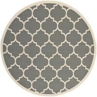 Safavieh Courtyard Moroccan Pattern Anthracite/ Beige Indoor/ Outdoor Rug - 4'