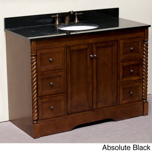 Natural Granite 48 Inch Traditional Single Sink Bathroom Vanity And Roped Molded Pilaster In