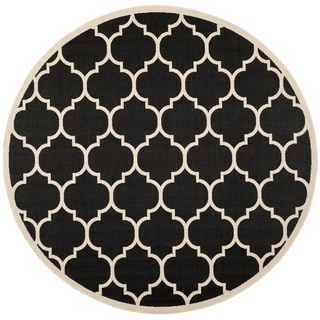 Safavieh Indoor/ Outdoor Courtyard Contemporary Black/ Beige Rug (4' Round)