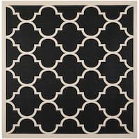 Safavieh Courtyard Moroccan Pattern Black/ Beige Indoor/ Outdoor Rug - 4' Square