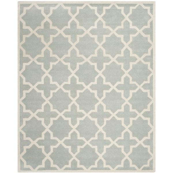 Safavieh Handmade Moroccan Chatham Contemporary Gray/ Ivory Wool Rug - 10' x 14'