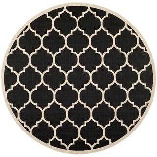 Safavieh Indoor/ Outdoor Courtyard Black/ Beige Polypropylene Rug (5'3 Round)
