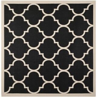 "Safavieh Courtyard Moroccan Pattern Black/ Beige Indoor/ Outdoor Rug (5'3"" Square)"