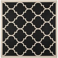 Safavieh Courtyard Moroccan Pattern Black/ Beige Indoor/ Outdoor Rug - 5'3 Square