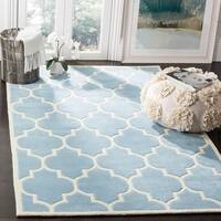 Safavieh Handmade Moroccan Chatham Contemporary Blue/ Ivory Wool Rug - 10' x 14'