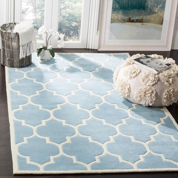 Safavieh Handmade Moroccan Chatham Contemporary Blue/ Ivory Wool Rug - 10' x 14'