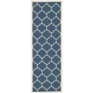 Safavieh Courtyard Moroccan Pattern Navy/ Beige Indoor/ Outdoor Rug (2'3 x 14')