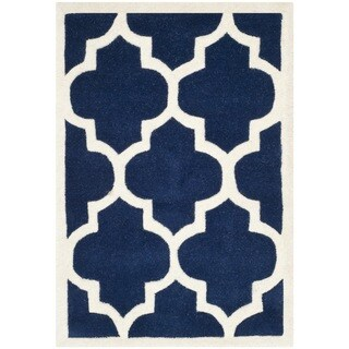 "Safavieh Handmade Moroccan Chatham Contemporary Dark Blue/ Ivory Wool Rug (2'3"" x 5')"
