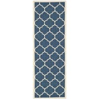 Safavieh Courtyard Moroccan Pattern Navy/ Beige Indoor/ Outdoor Rug - 2'3 x 8'