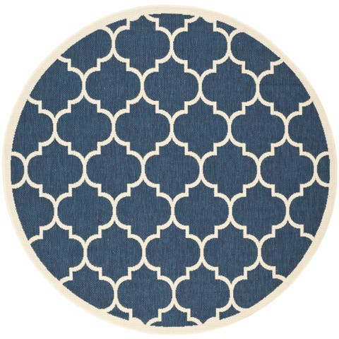 Safavieh Courtyard Lagoon Navy / Beige Indoor/ Outdoor Rug - 4' x 4' Round