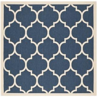Safavieh Indoor/ Outdoor Courtyard Trellis Pattern Navy/ Beige Rug (4' Square)