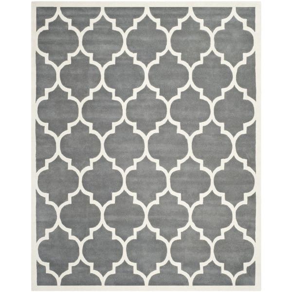 Safavieh Handmade Moroccan Chatham Dark Gray/ Ivory Wool Area Rug - 10' x 14'