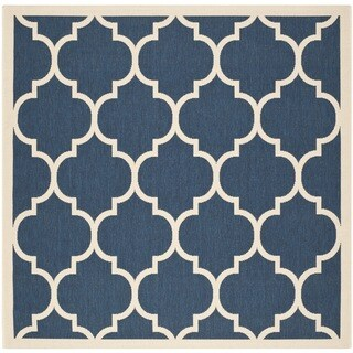 Safavieh Courtyard Navy/ Beige Indoor/ Outdoor Rug (5'3 x 5'3)
