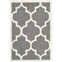 Safavieh Contemporary Handmade Moroccan Chatham Dark Grey/ Ivory Wool Rug - 2'3' x 5'