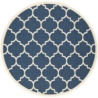 Safavieh Courtyard Moroccan Pattern Navy/ Beige Indoor/ Outdoor Rug - 7' Round