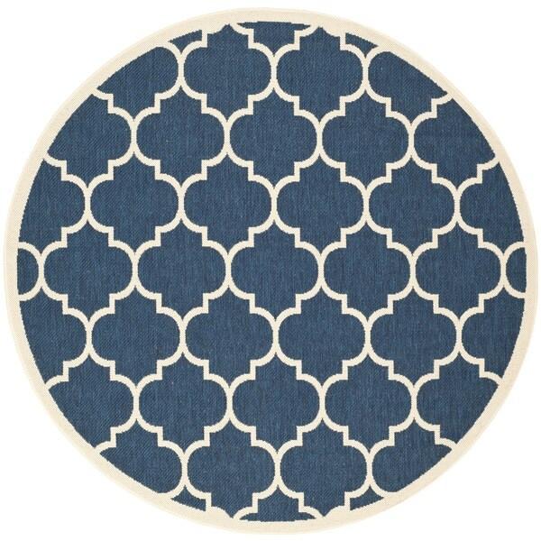 Shop Safavieh Courtyard Moroccan Pattern Navy Beige