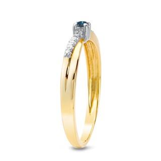 Auriya 10k White or Two-tone Gold 1/10ct TDW Blue and White Diamond Ring (J-K, I1-I2)