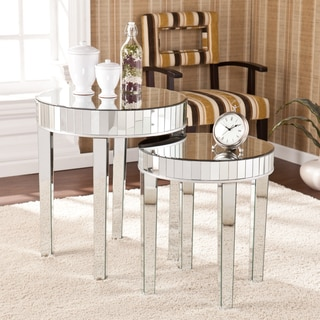Silver Orchid Olivia Round Mirrored Nesting Accent Table 2pc Set