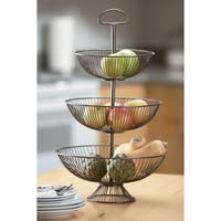 24-Inch Three-Tier Decorative Wire Basket Stand