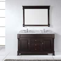 Huntshire 60-inch Dark Walnut Double Vanity Cabinet Marble Top