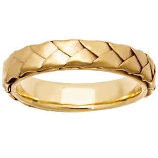 18k Yellow Gold Women's Woven Comfort-fit Wedding Band