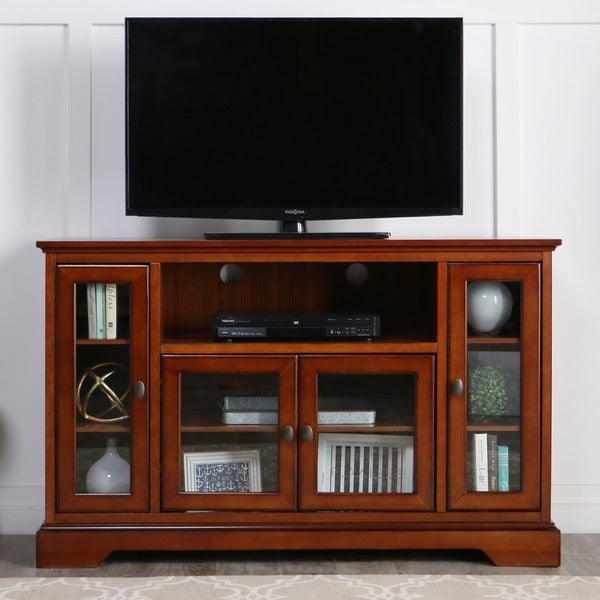 52 In Rustic Brown Highboy Style Wood Tv Stand Free
