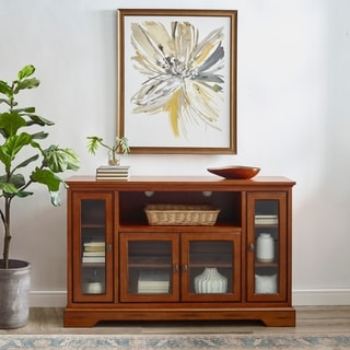 52 in. Rustic Brown Highboy Style Wood TV Stand