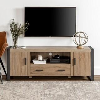 60-inch Urban Blend Wood TV Stand- Ash Grey