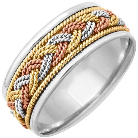 18k Tri-Color Gold Braided Design Comfort Fit Women's Wedding Bands