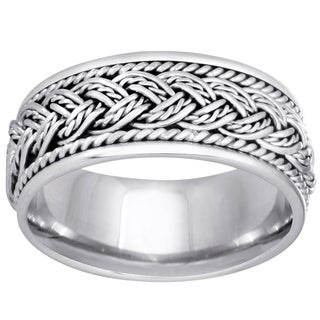 14k White Gold Woven Comfort-fit 2-rope Wedding Band