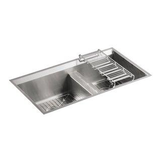 KOHLER K-3672-NA 8 Degree Offset Under-Mount Double Basin Kitchen Sink