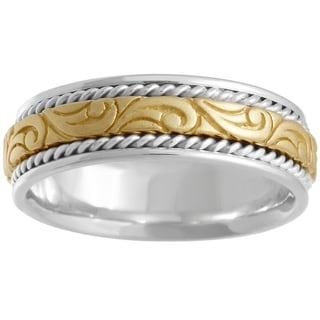 18k Two-tone Gold Swirl Center Comfort-fit Wedding Band