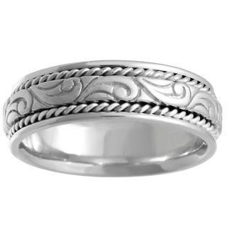 14k White Gold Swirl Center Comfort-fit Wedding Band