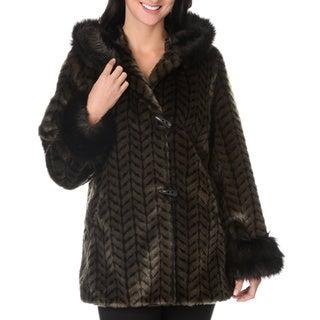 Women's Fax Fur Zig Zag Weave Short Coat