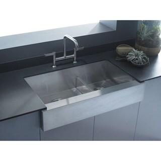 """Kohler K-3945-Na Vault 35-1/2"""" X 21-1/4"""" X 9-5/16"""" Under-Mount Smart Divide Large/Medium Double-Bowl Kitchen Sink - Silver"""