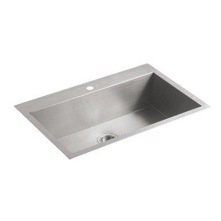 "Kohler K-3821-1-Na Vault 33"" X 22"" X 9-5/16"" Top-/Under-Mount Large Single-Bowl Kitchen Sink With Single Faucet Hole - Silver"