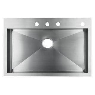 "Kohler K-3821-4-Na Vault 33"" X 22"" X 9-5/16"" Top-/Under-Mount Large Single-Bowl Kitchen Sink With 4 Faucet Holes - Silver"