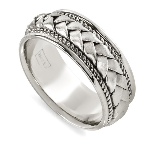 14k White Gold Woven Comfort-fit Rope Wedding Band