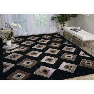 kathy ireland Palisades Architectural Retro Black Area Rug by Nourison (5' x 7'6)